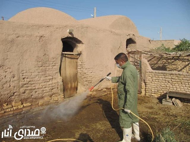 اجرای طرح سمپاشی رایگان اماکن دامی در شهرستان انار