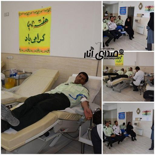 اهدا خون کارکنان انتظامی بمناسبت هفته ناجا